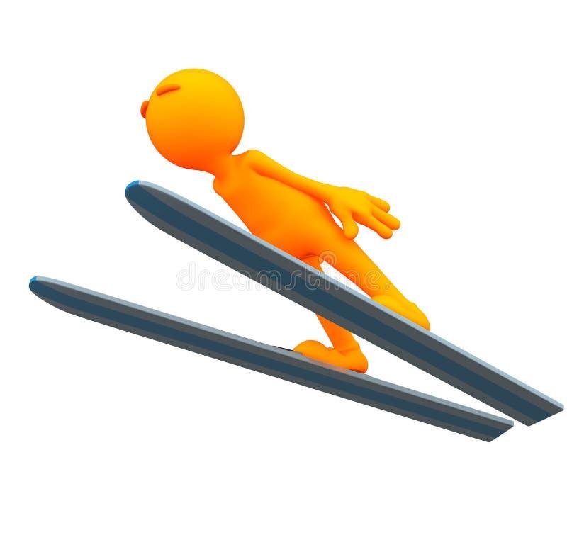 3d Kerel: Olympisch Ski Jumper royalty-vrije illustratie