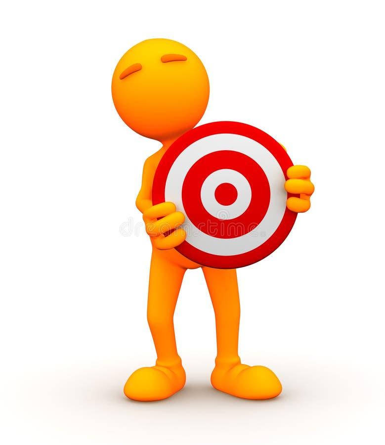 3d Kerel: Status achter een Bullseye vector illustratie