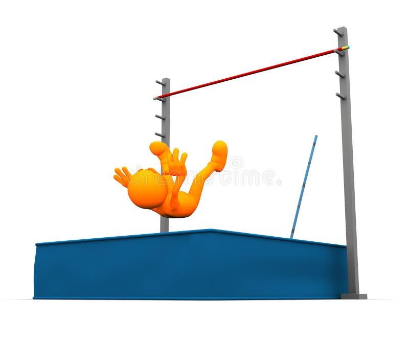 3d Kerel: Succes bij Polsstokspringen royalty-vrije illustratie