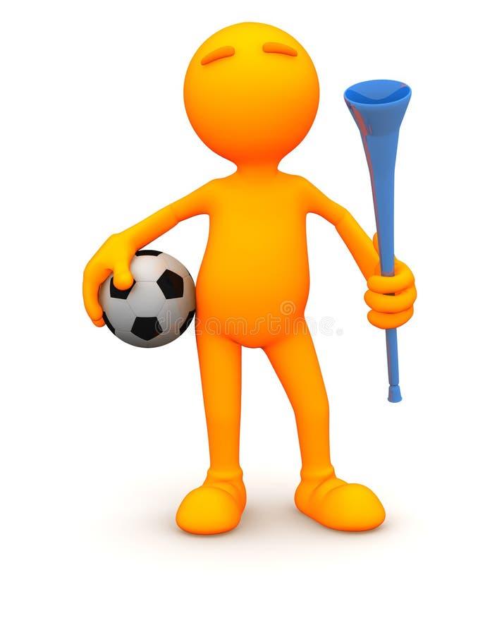 3d Kerel: Voetbalkerel met Bal en Vuvuzela stock illustratie