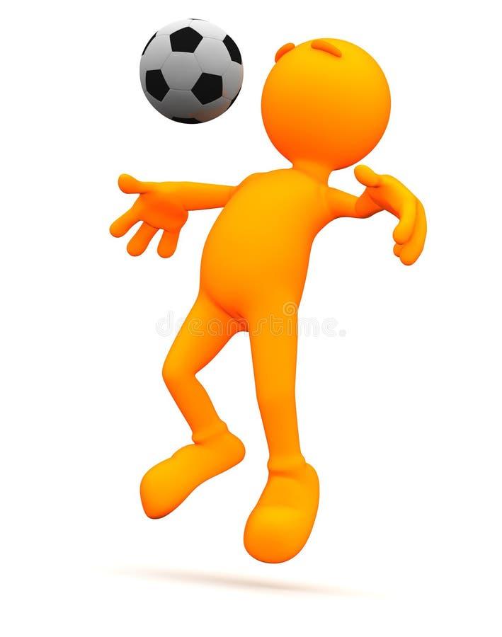 3d Kerel: Voetbalmens die Borstbuil doen vector illustratie