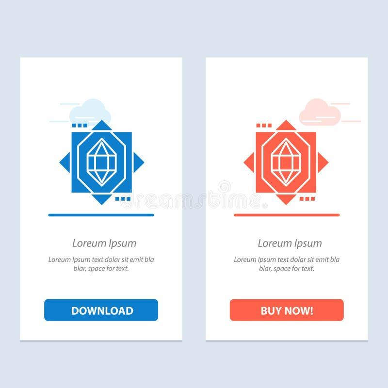 3d, Kern, die ontwerp Blauwe en Rode Download en koop nu de Kaartmalplaatje van Webwidget vormen zich vector illustratie