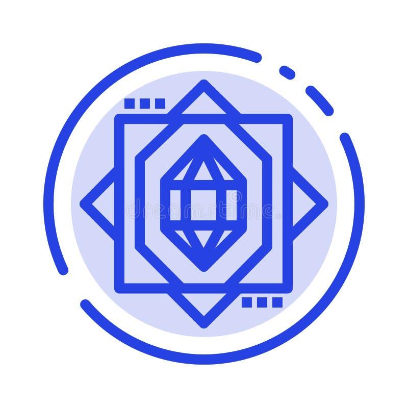3d, Kern, het Vormen zich, de Lijnpictogram van de Ontwerp Blauw Gestippelde Lijn stock illustratie