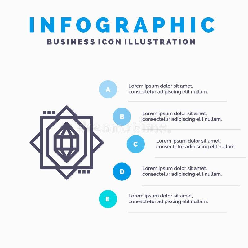 3d, Kern, het Vormen zich, Malplaatje 5 van Ontwerp Blauw Infographics Stappen Het vectormalplaatje van het lijnpictogram royalty-vrije illustratie