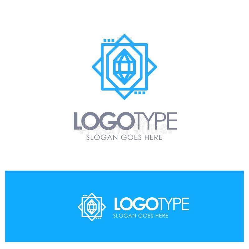 3d, Kern, het Vormen zich, Ontwerp Blauw Logo Line Style vector illustratie