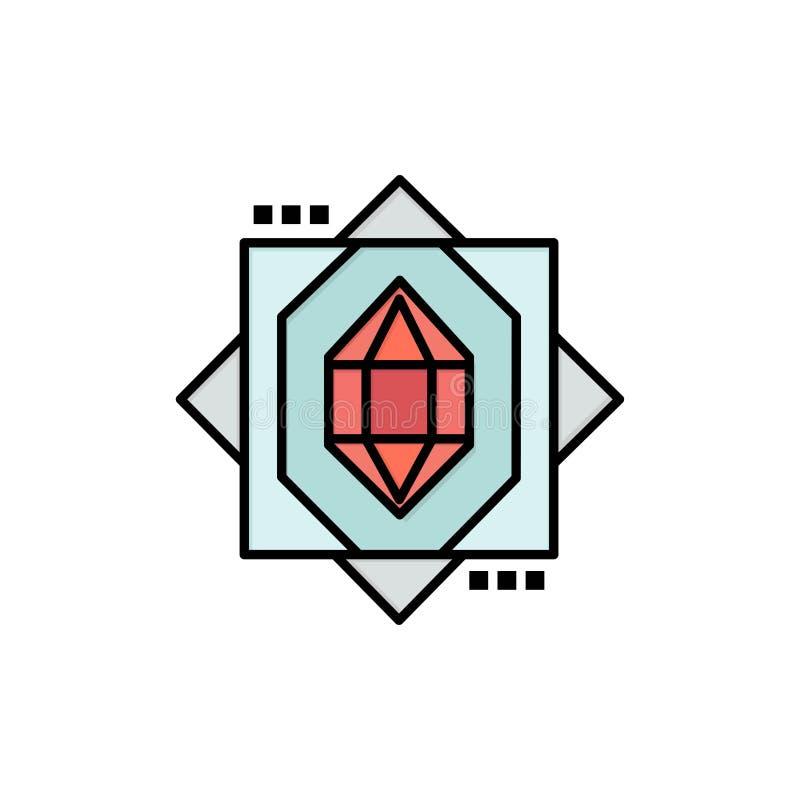 3d, Kern, het Vormen zich, Pictogram van de Ontwerp het Vlakke Kleur Het vectormalplaatje van de pictogrambanner stock illustratie