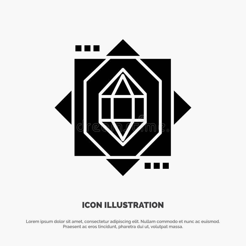 3d, Kern, het Vormen zich, Pictogram van Ontwerp het Stevige Zwarte Glyph vector illustratie