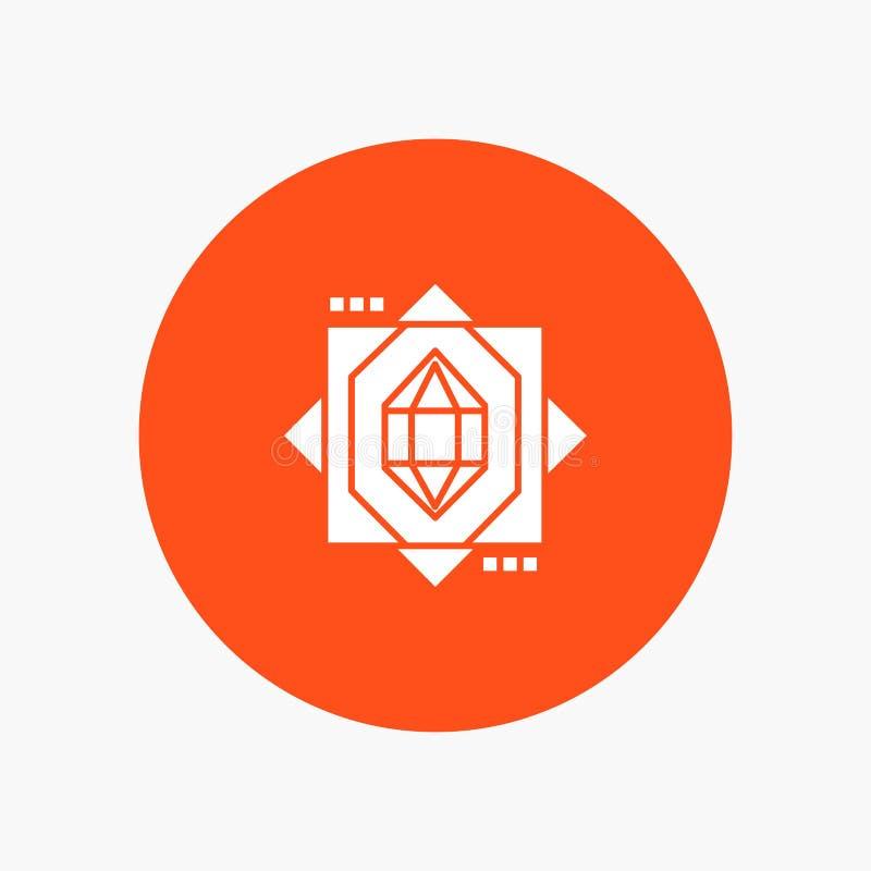 3d, Kern, het Vormen zich, pictogram van Ontwerp het witte glyph royalty-vrije illustratie