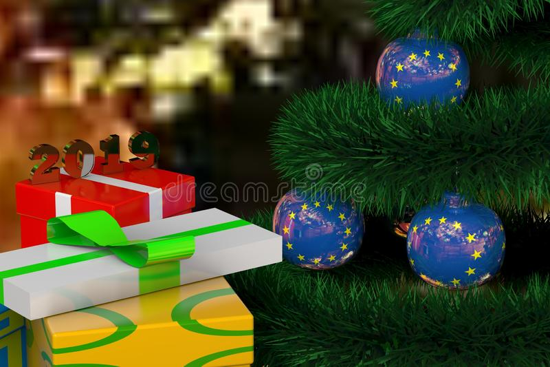 3D Kerstboom met ballen in de vorm van de vlag en de giften van de EU vector illustratie