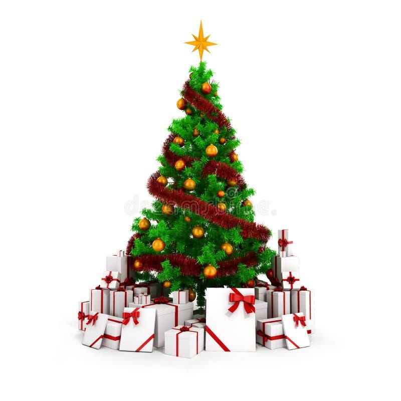 3d Kerstboom met kleurrijke ornamenten en stelt voor stock illustratie