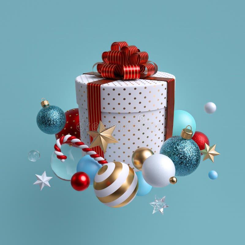 3d kerstcadeau, witte doos met rode boog, glazen ballen, snoepriet, kristal en gouden sterren Winterspelen vector illustratie