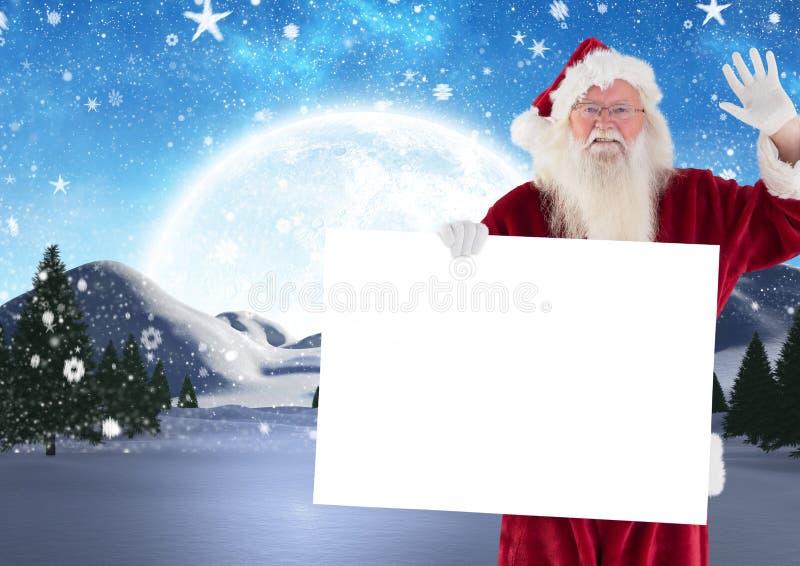 3D Kerstman die terwijl het houden van leeg aanplakbiljet golven stock illustratie