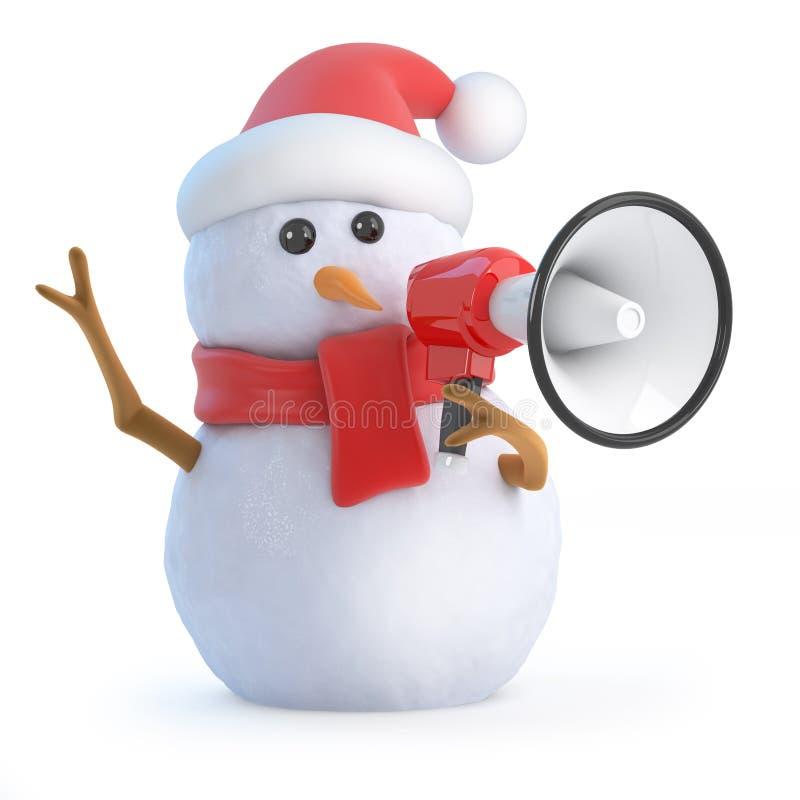 3d Kerstmansneeuwman met megafoon royalty-vrije illustratie