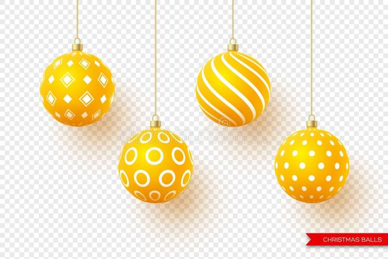 3d Kerstmis gele ballen met geometrisch patroon Decoratieve elementen voor ontwerp van het vakantie het nieuwe jaar geïsoleerde stock illustratie
