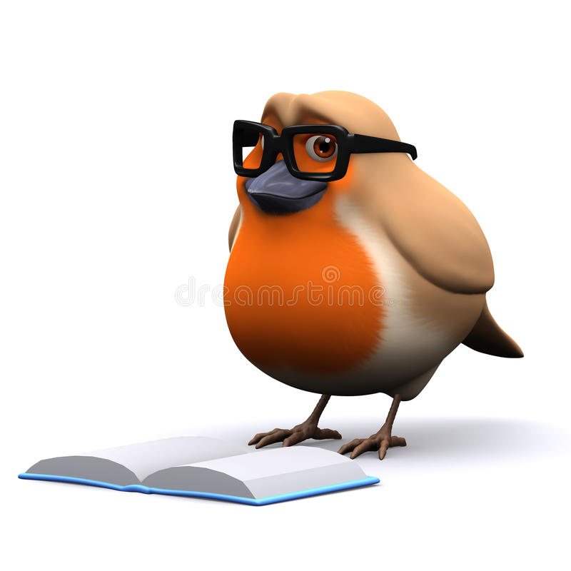 3d Kerstmis Robin leest een goed boek stock illustratie