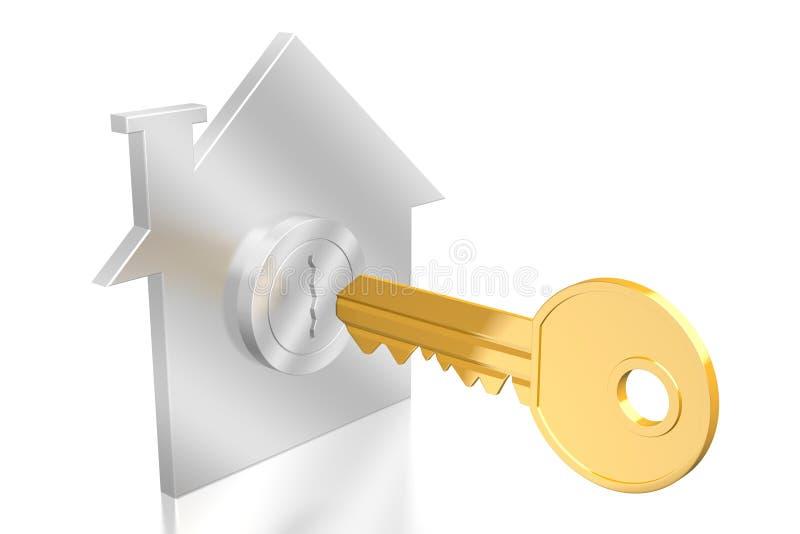 3D key/domu pojęcie royalty ilustracja