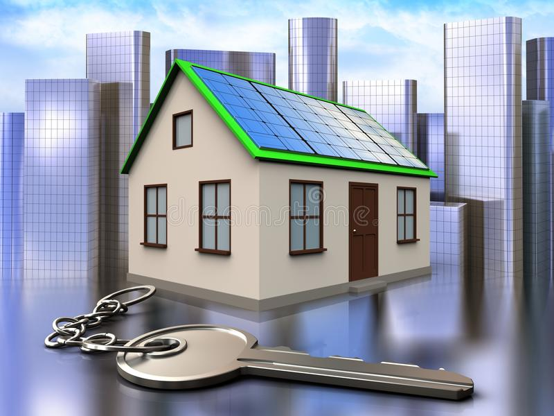 3d key over city. 3d illustration of home with solar panel with key over city background royalty free illustration