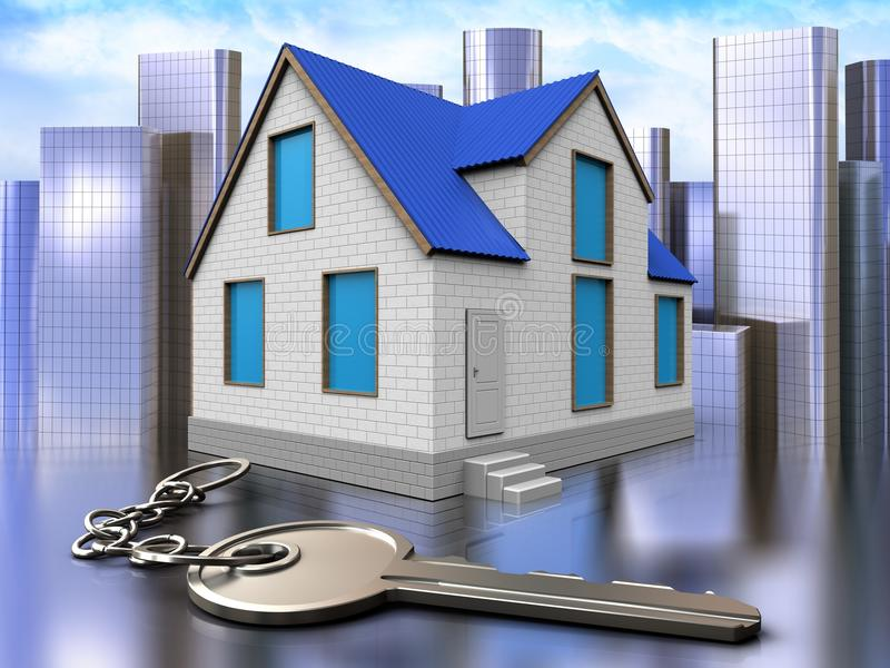 3d key over city. 3d illustration of home with key over city background vector illustration