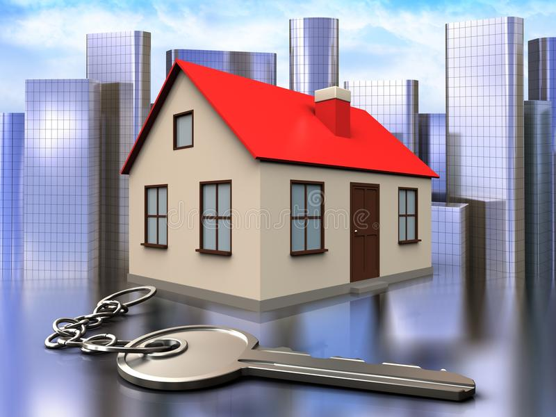 3d key over city. 3d illustration of house with key over city background royalty free illustration