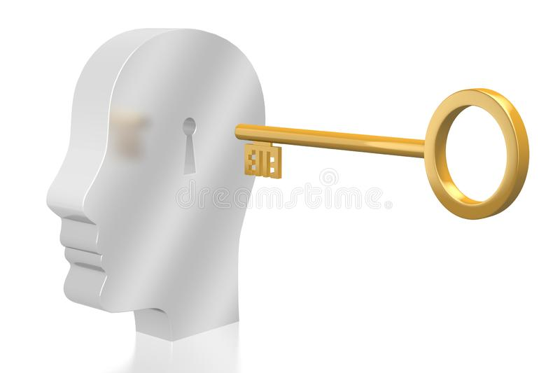 3D key/password/umysłu pojęcie royalty ilustracja