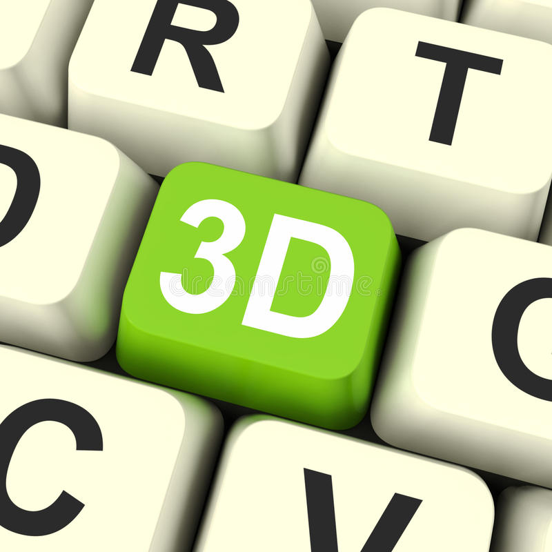 3d Key Shows Three Dimensional Printer Or Font vector illustration