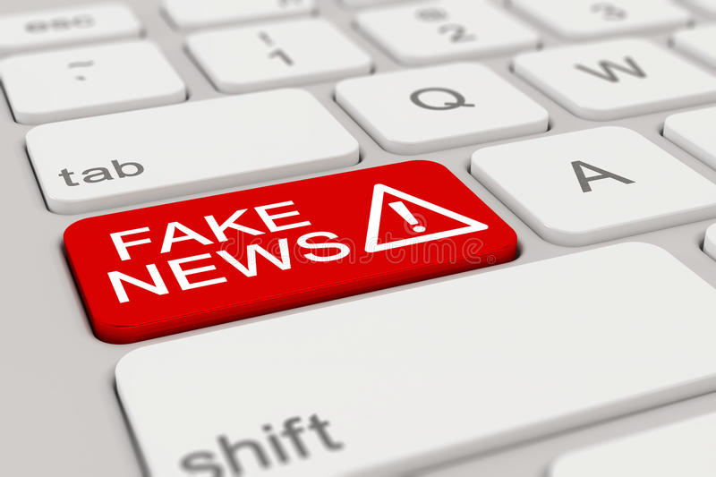3d - keyboard - fake news - red. 3d rendering of a white keyboard with red fake news button vector illustration