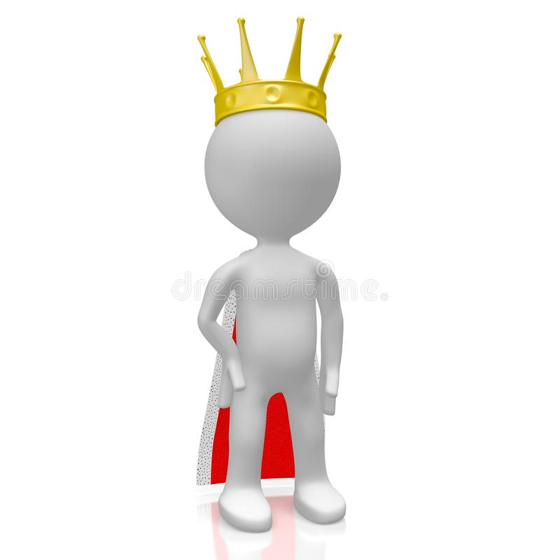 3D king concept. 3D king with a crown and a gown - great for topics like monarchy, authority, power etc stock illustration