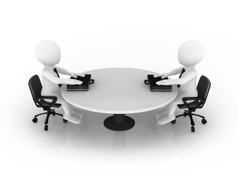 3d kleine bedrijfsmensen die bij rondetafel zitten royalty-vrije illustratie