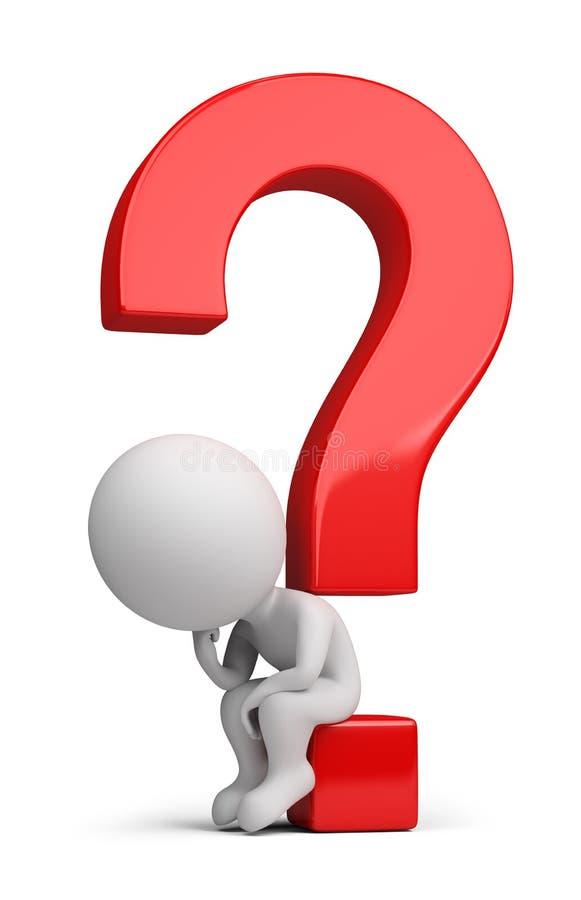 3d kleine Leute - Denker, der auf der Frage sitzt lizenzfreie abbildung