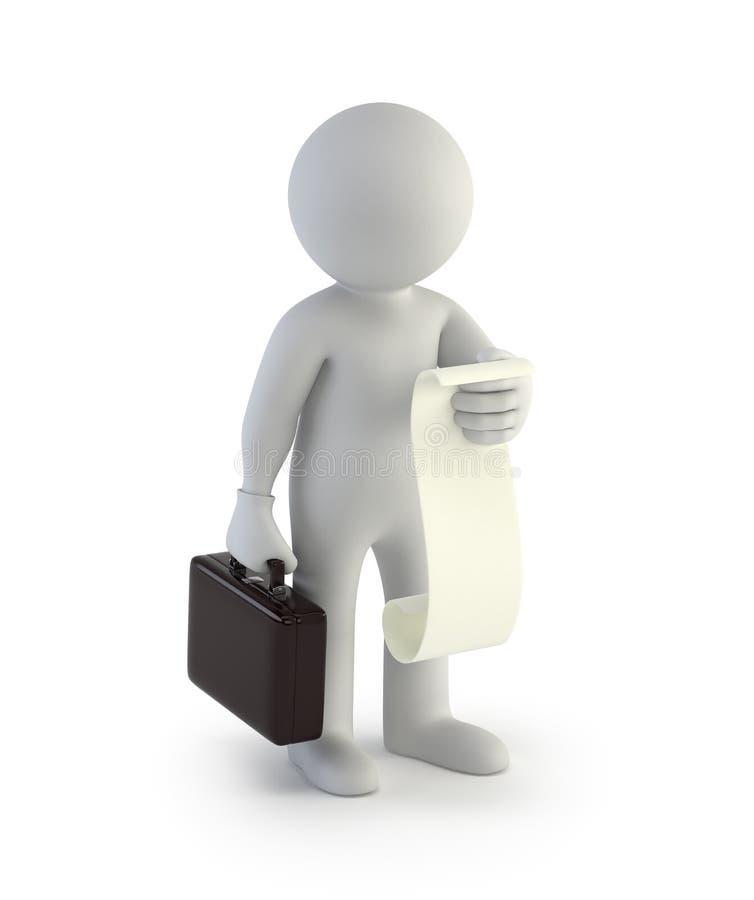 3d kleine Leute - Geschäftsmann mit einer Liste von Fällen stock abbildung