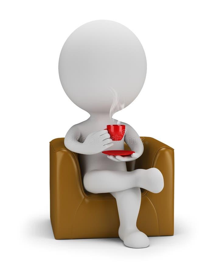 3d kleine Leute - Getränke cofee lizenzfreie abbildung