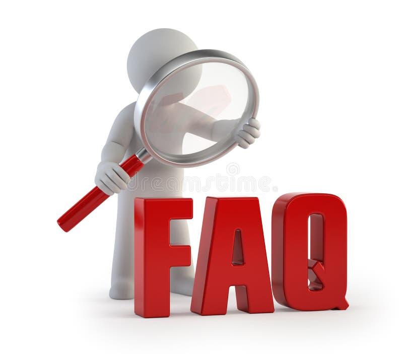 3d kleine Leute - lupe FAQ vektor abbildung