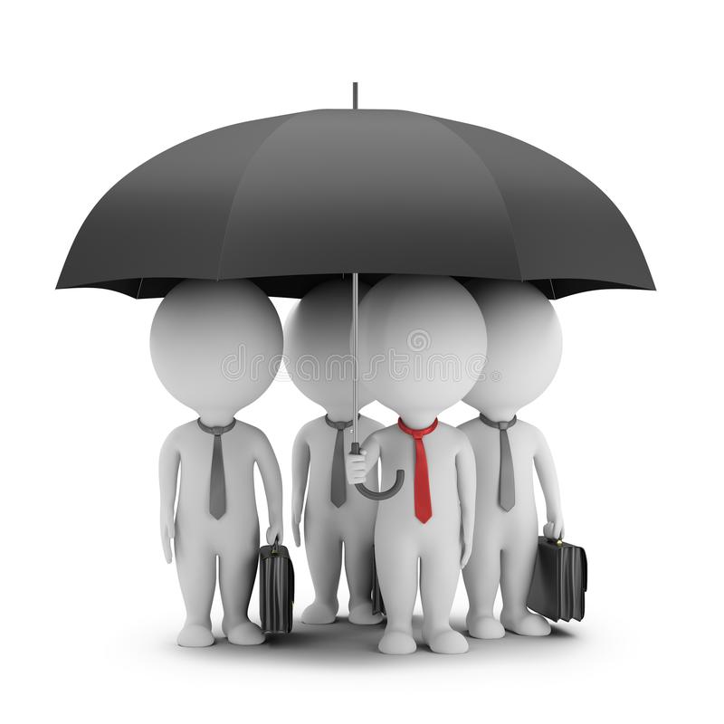 3d kleine Leute - Manager mit einem Regenschirm und seinem Team lizenzfreie abbildung