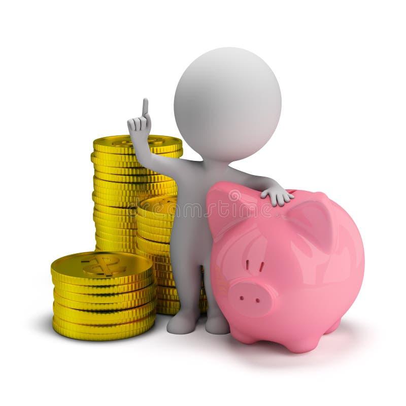3d kleine mensen - besparingen royalty-vrije illustratie