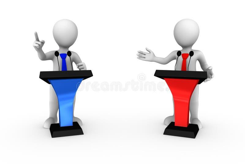 3d kleine mensen die die van tribune spreken op witte achtergrond wordt geïsoleerd vector illustratie