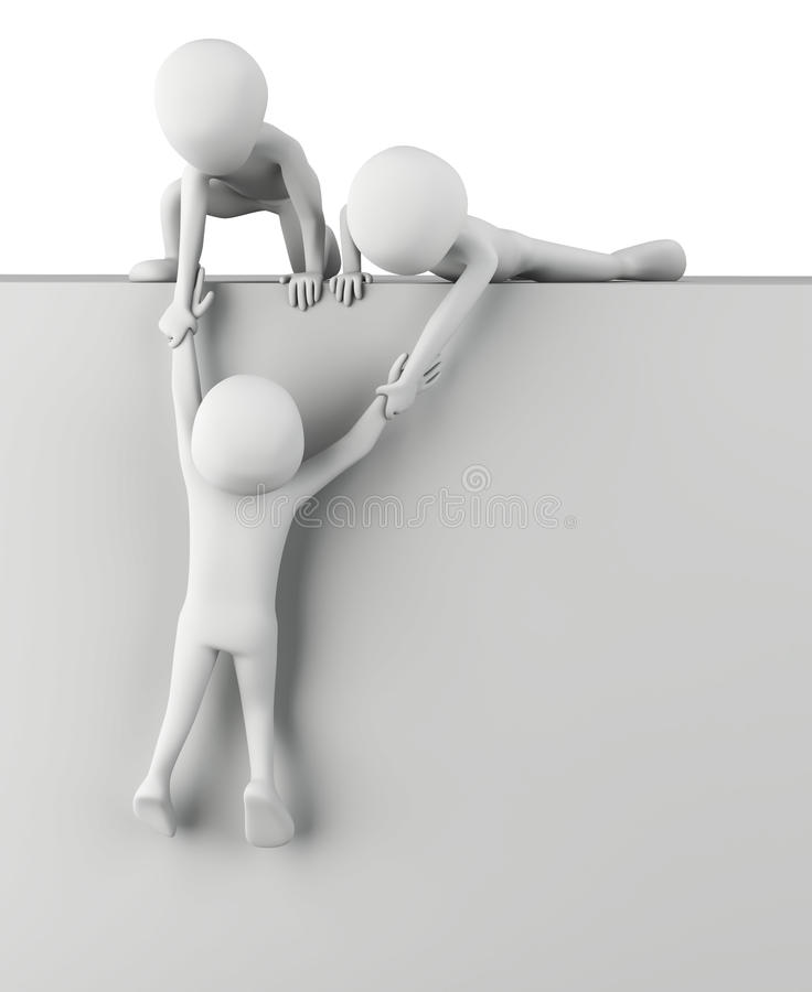 3d kleine mensen helpen op te staan. royalty-vrije illustratie