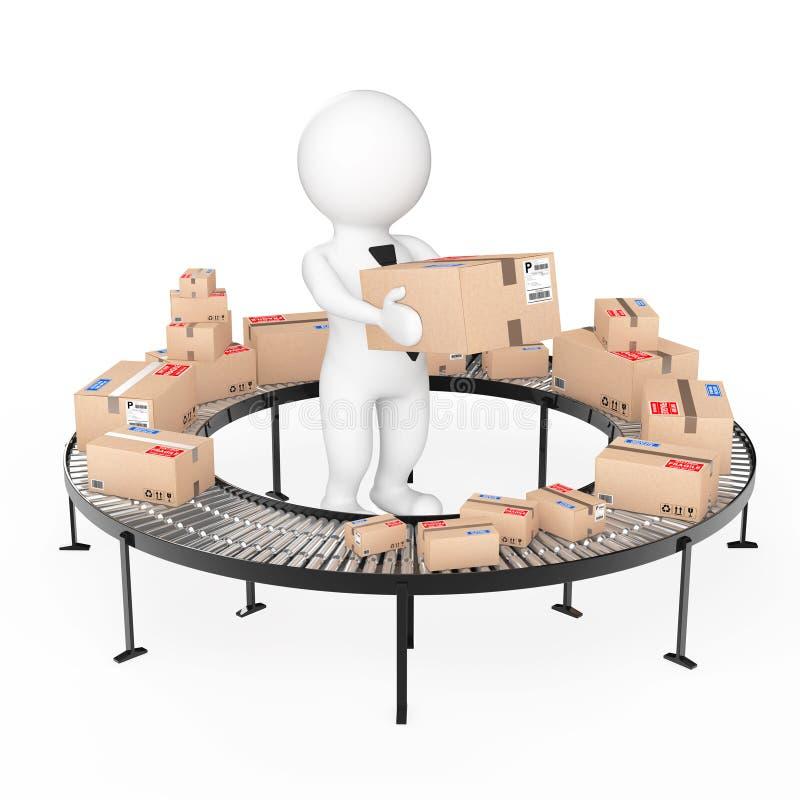 3d Kleine Mensen houden een Kartondoos dichtbij Pakketgoederen over Broodje vector illustratie