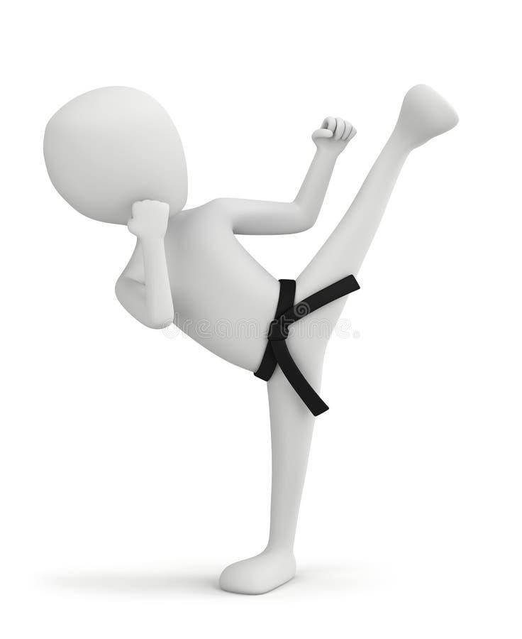 3d kleine mensen - karatevechter. royalty-vrije illustratie