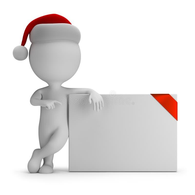 3d kleine mensen - Kerstman en lege raad royalty-vrije illustratie