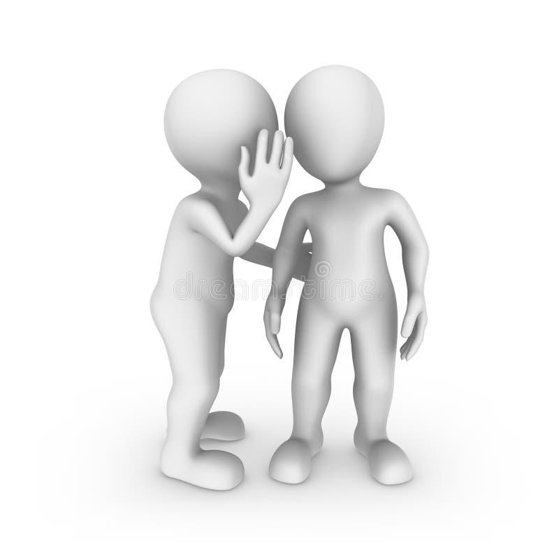 3d kleine mensen Luister zorgvuldig, is het een geheim vector illustratie