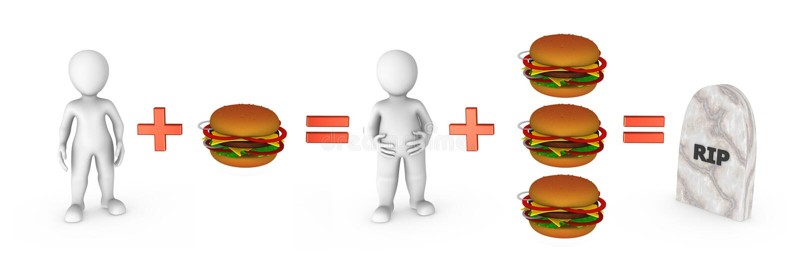 3d kleine mensen met hamburgers en snel voedselprobleem stock illustratie