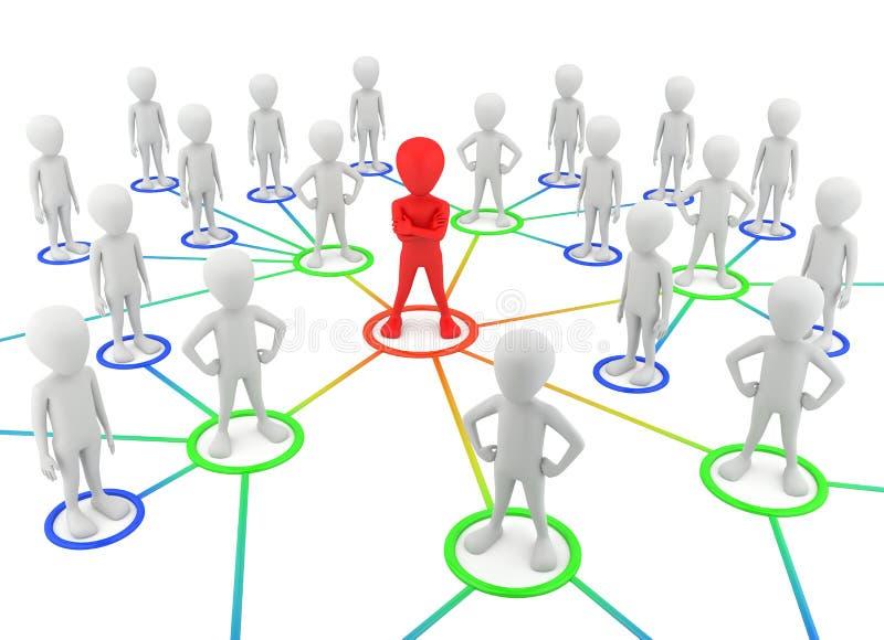 3d kleine mensen - partners het netwerk. stock illustratie