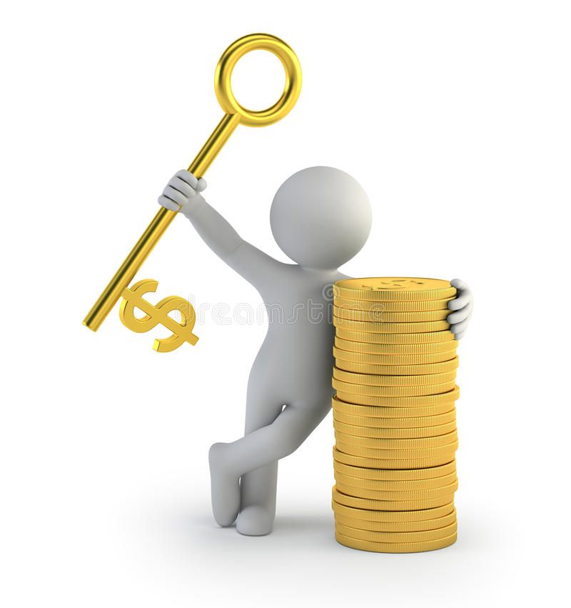 3d kleine mensen - sleutel tot succes royalty-vrije illustratie