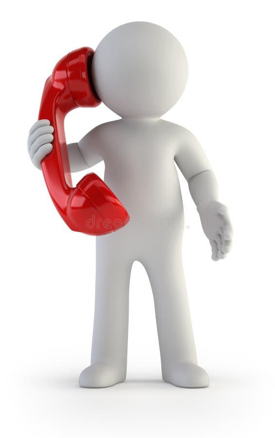 3d kleine mensen - Telefoongesprek royalty-vrije illustratie