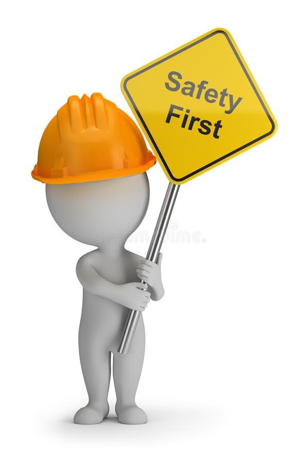 3d kleine mensen - veiligheid eerst vector illustratie