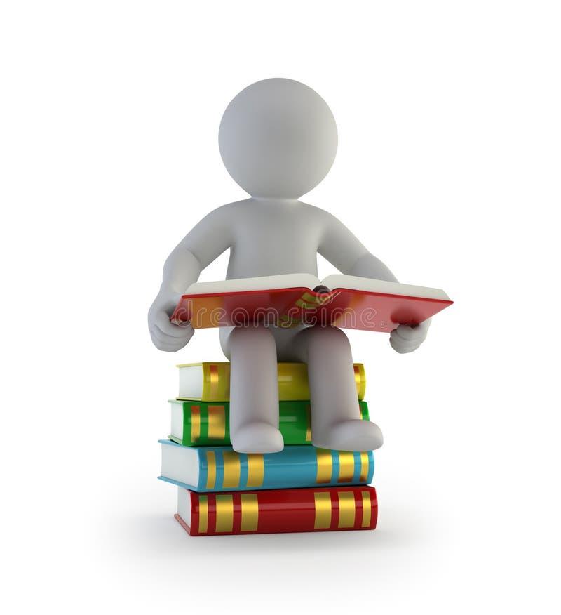 3d kleine mensen - zitting op de boeken royalty-vrije illustratie