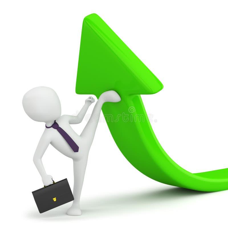 3d kleine Person - Flexibilität im Geschäft! stock abbildung