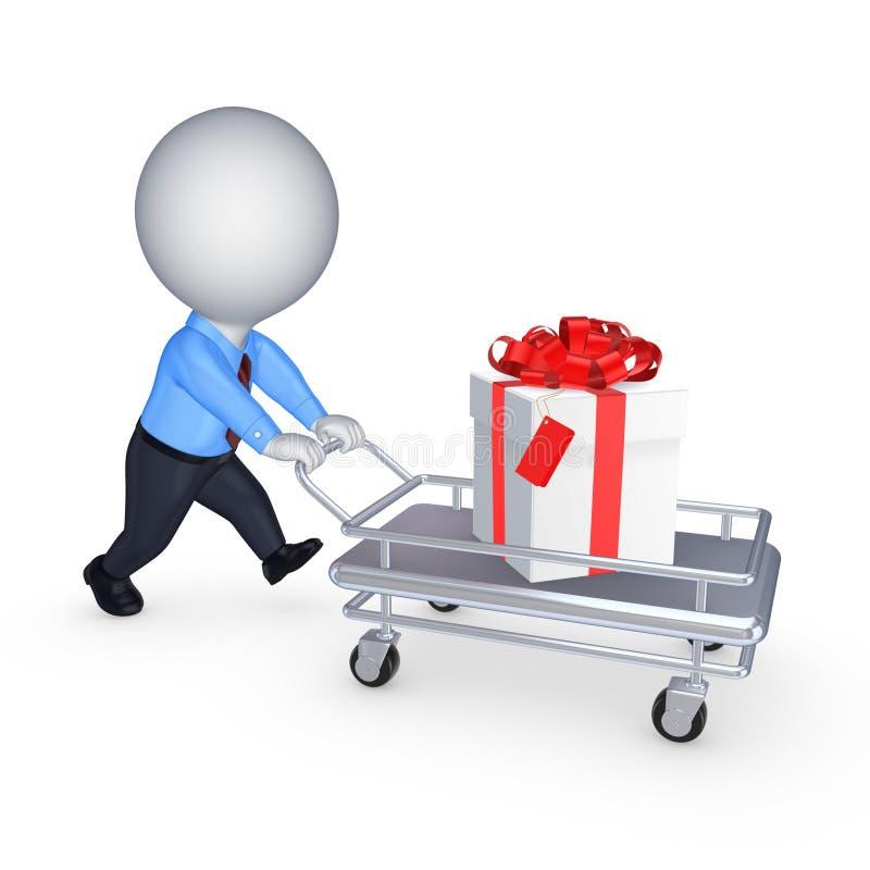 3d kleine persoon met giftbox op handkar. royalty-vrije illustratie