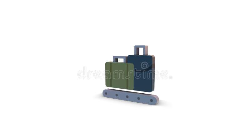 3d kleurenpictogram van bagagetransportband royalty-vrije illustratie
