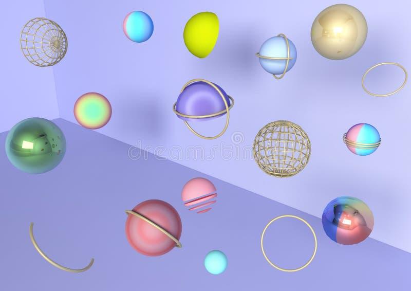 3d kleurrijke ballen op violette heldere achtergrond, malplaatje, creatieve parel, modern, populair, hoogste, samenvatting stock illustratie